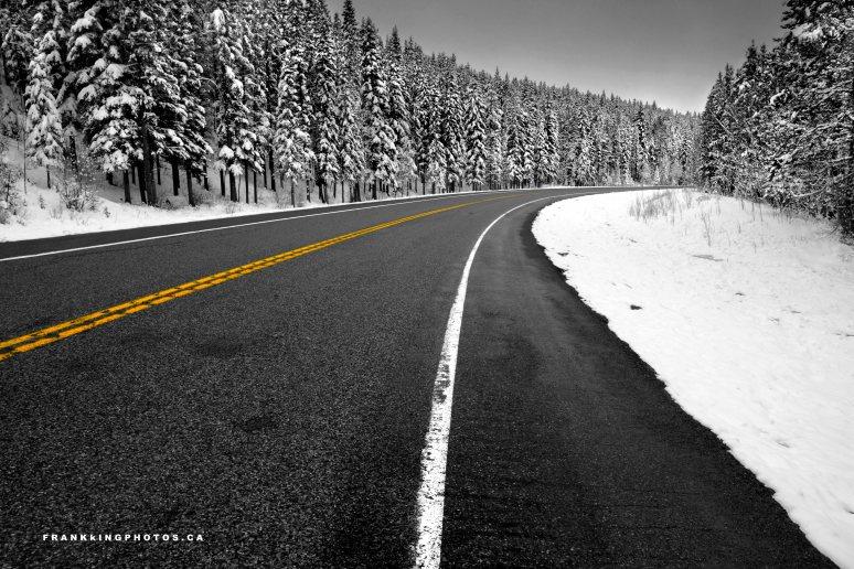 snowy road, snowy forest, Canada
