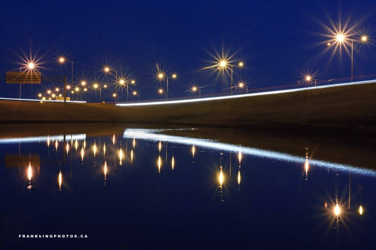 Calgary highways lights night