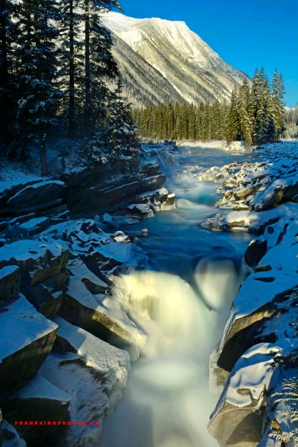 Canada winter waterfall