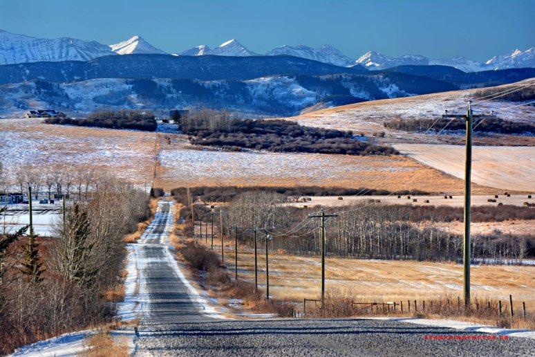 Canada prairies road Alberta