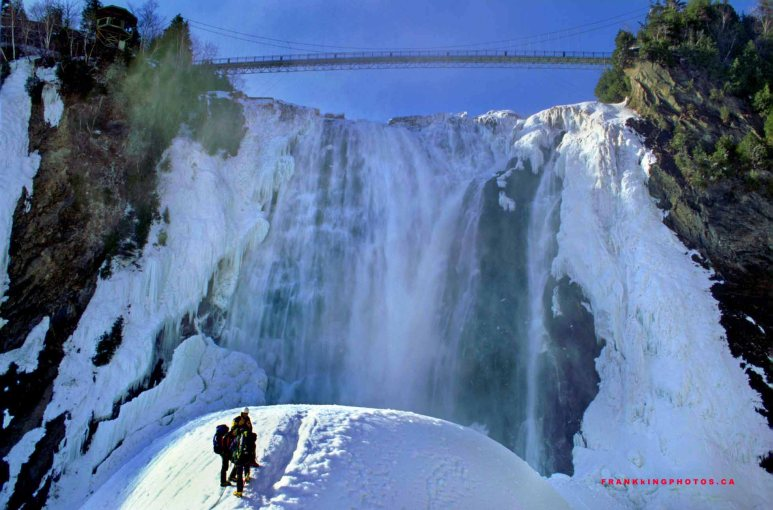 Canada Quebec winter waterfall Montmorency
