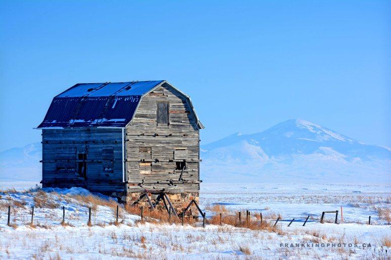 barn prairies winter Alberta