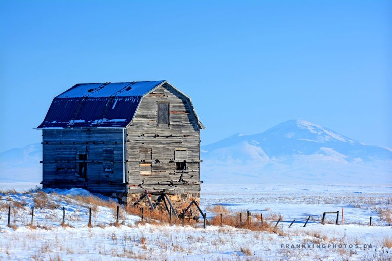 barn prairies winter Alberta