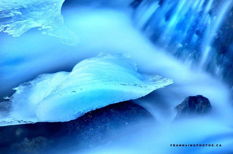 blue water silky water winter Canada
