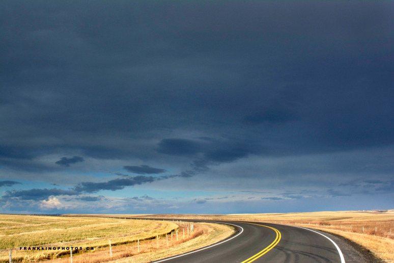 prairie road Canada dark sky