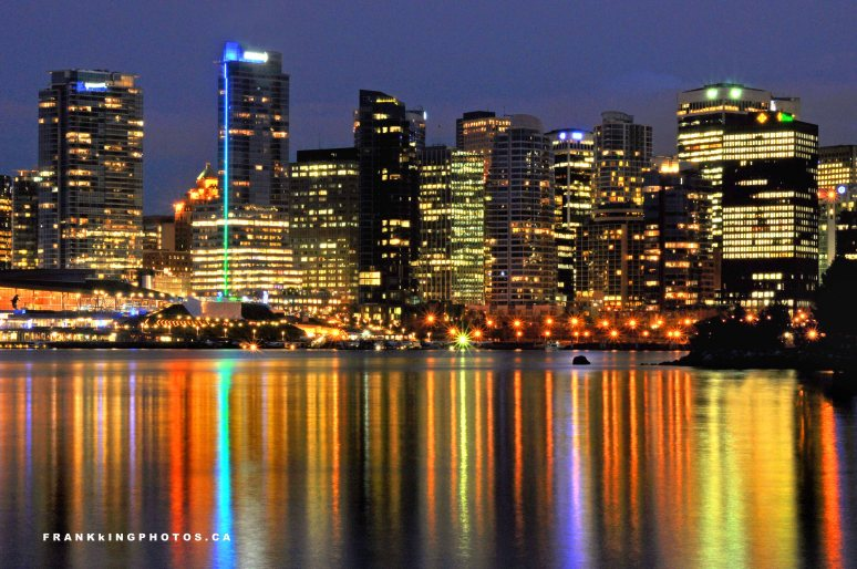 Vancouver night skyline lights Canada
