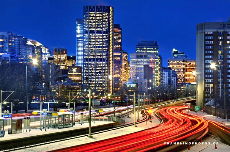 Calgary long exposure light streams