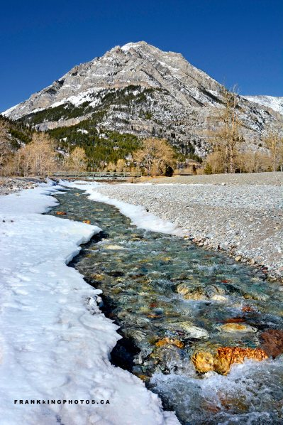 Waterton Rockies stream snow