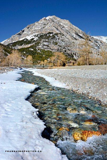 Waterton Rockies stream snow