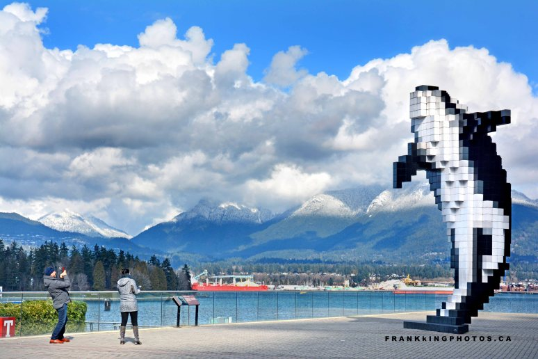 Vancouver clouds whale statue
